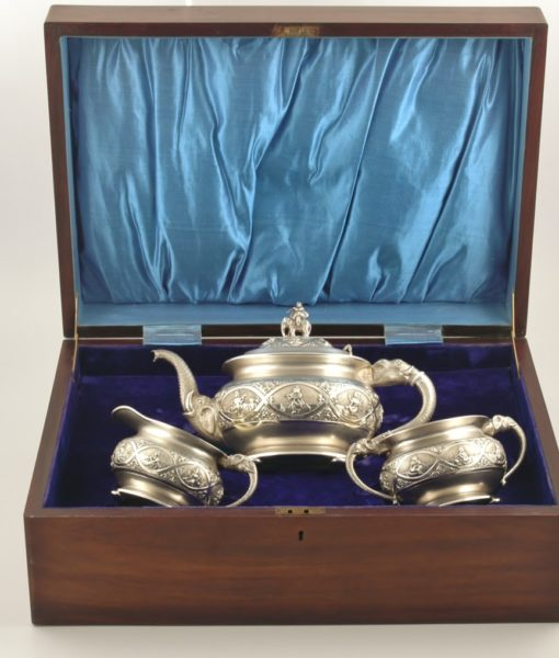 Indian 3 piece silver tea set 1