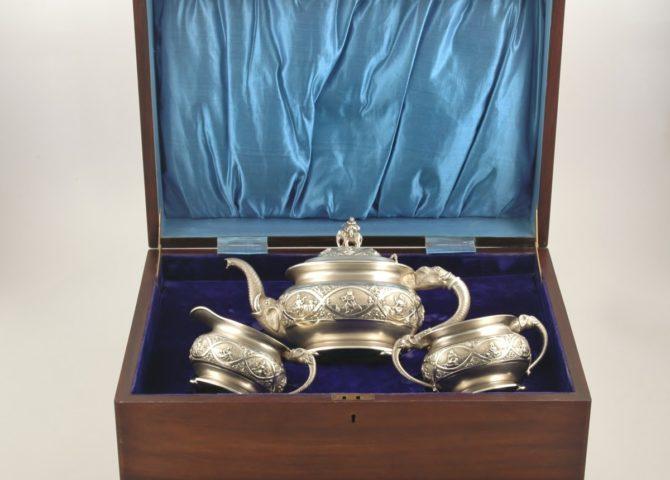 Indian 3 piece silver tea set 1