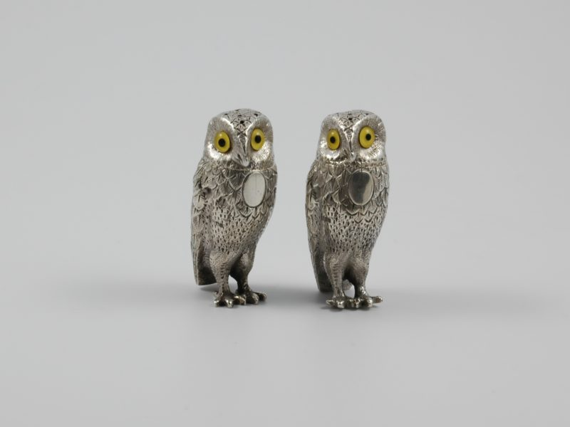 Pair of cast silver owl peppers 1