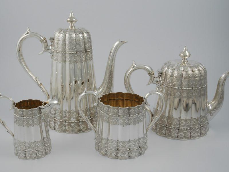 Victorian silver tea service London 1875 2