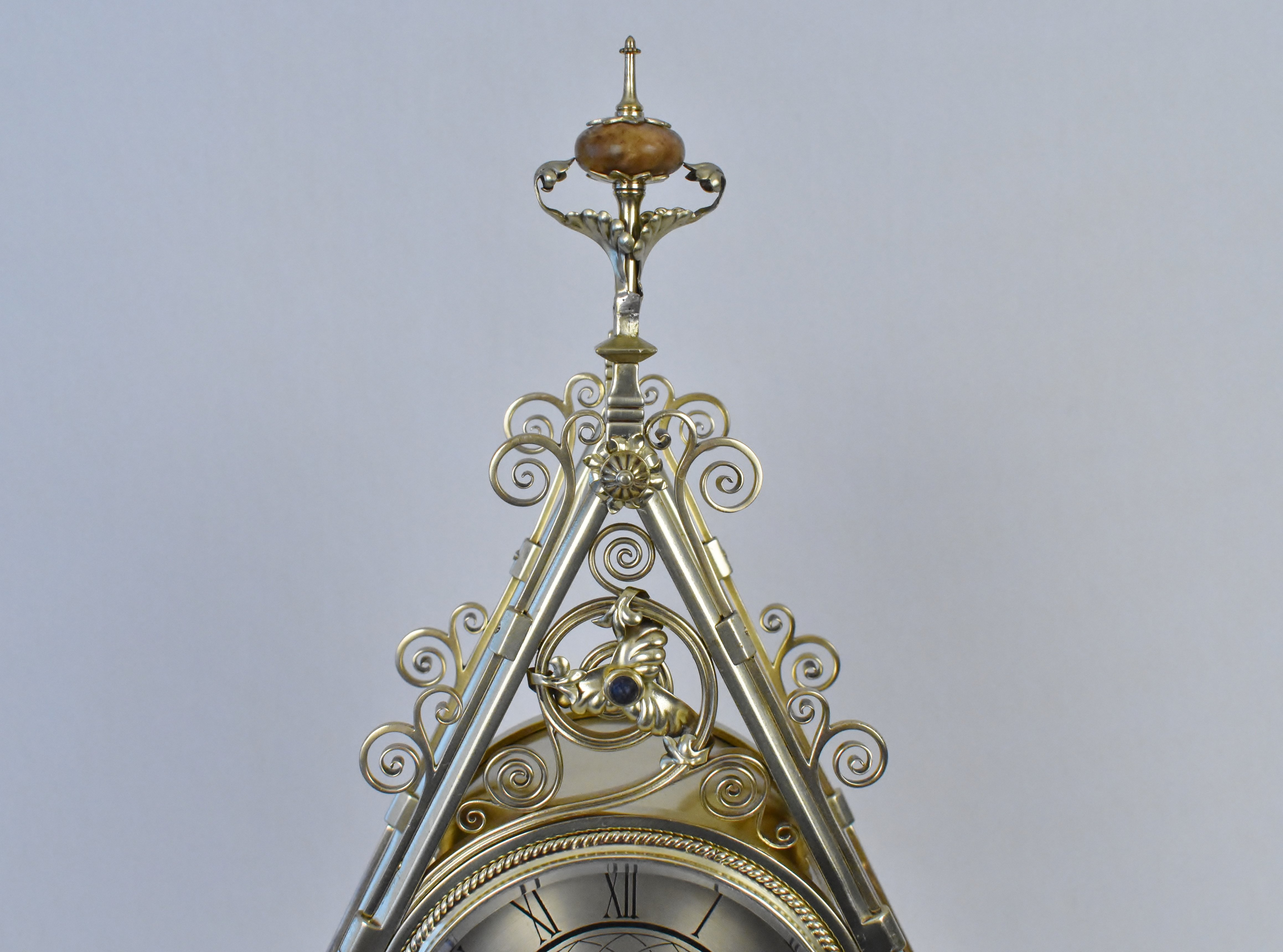 An English Reformed Gothic Brass Mantle Clock The Design